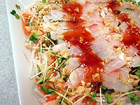 白身魚のアジア風カルパッチョ