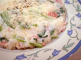 小松菜とクルミのチーズリゾット