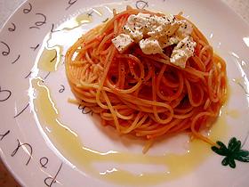 完熟トマトとクリームチーズのスパゲティー