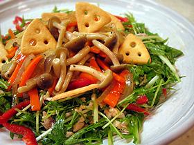 キノコと水菜の8品目サラダ