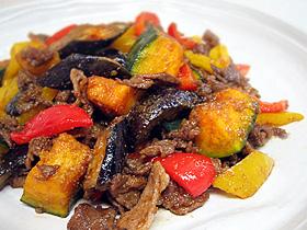夏野菜と豚肉のコリアン炒め
