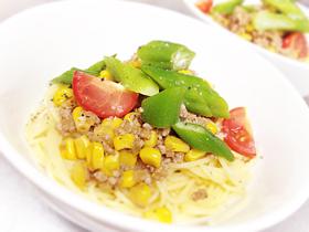 夏野菜のキーマスパゲティー