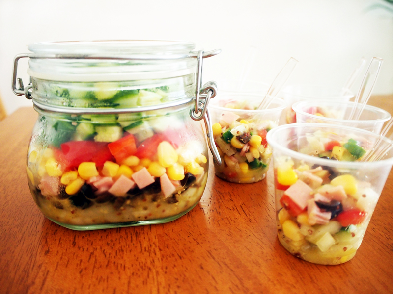コロコロ野菜とひよこ豆のジャーサラダ