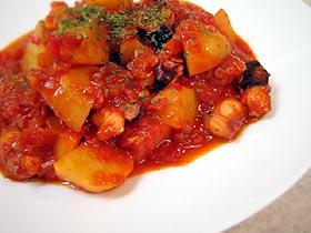 タコとジャガイモのパプリカ煮 Cocido pulpo y patatas a la roja