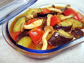 ナスとキノコのトマトマリネ Tomate Escalivada
